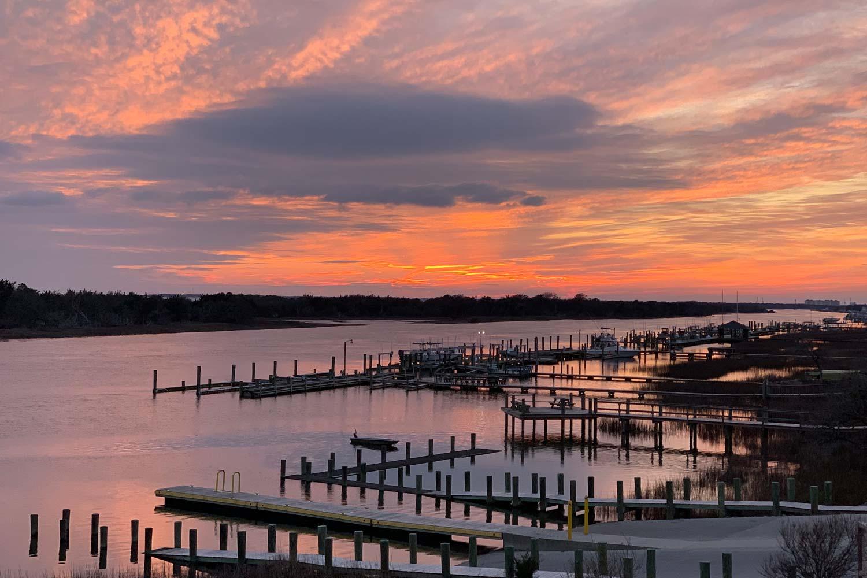 Beaufort North Carolina sunset from the Beaufort Hotel