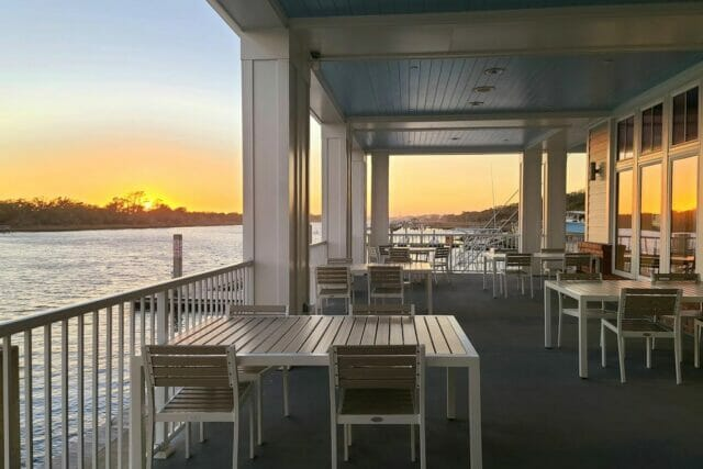 patio dining at 34 Degrees restaurant during sunset
